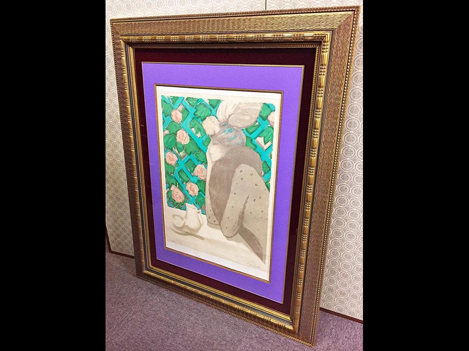 フランスの人気画家、カシニョールのリトグラフ「バラの垣根」です!